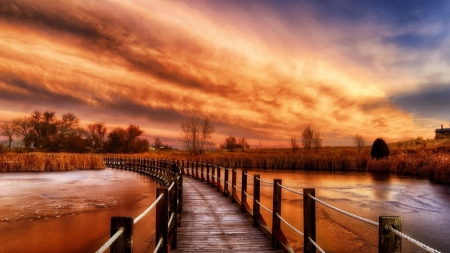 Autumn Wooden Bridge - bridge, sky, clouds, trees, river, nature, wooden, autumn