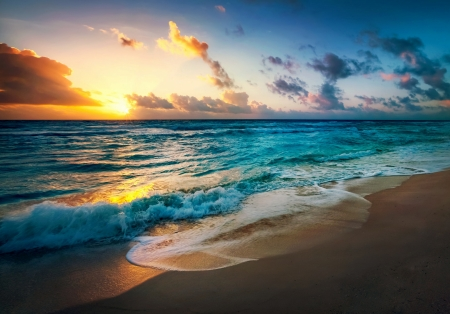Beach Sunset - Ocean, Beach, Nature, Sunset