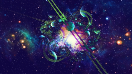 Tangled Universe - Planets, Galaxy, Space, Universe, Abstract