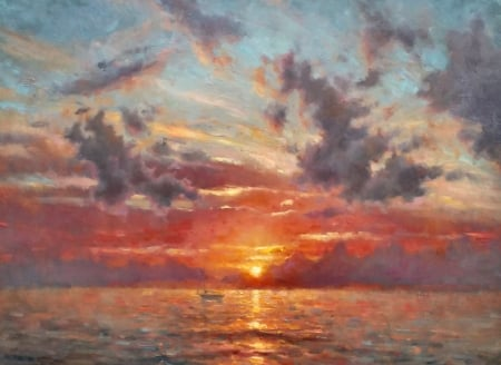 Warm Glow - art, waves, Paprocki, illustration, sea, high seascape, scenery, ocean, boat, wide screen, beautiful, artwork, painting