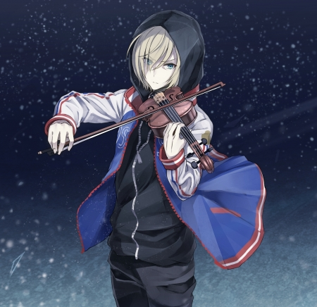 Yuri Plisetsky - pretty, male, Yuri on Ice, Yuri Plisetsky, Violin, beautiful anime art