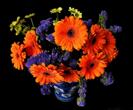 GERBERAS - FLOWERS, STEMS, VASE, COLORS