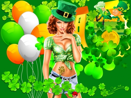 Happy St. Patrick's Day - Green, Irish, Saint Patricks Day, Girl