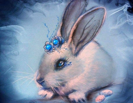 Bluebell - paintings, blue, spring, animals, easter, love four seasons, draw and paint, bunny, eggs, rabbit