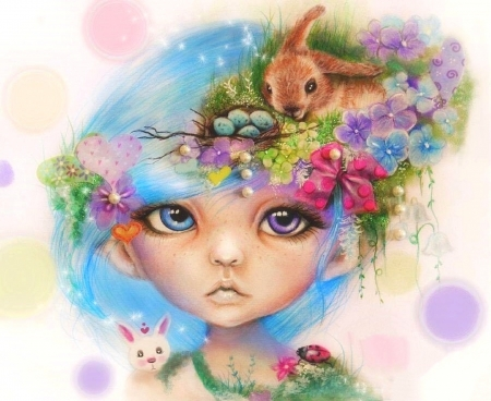 Easter Elf Eliza - paintings, egges, flowers, spring, animals, easter, love four seasons, draw and paint, elf, girl, bunny, weird things people wear