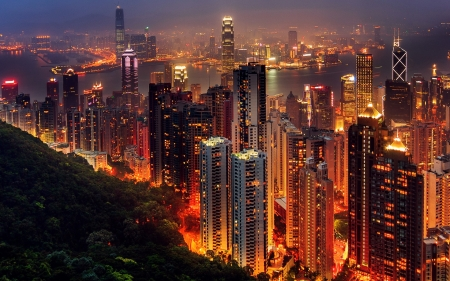 Hong Kong - pearl of the orient, night, victoria harbour, peak