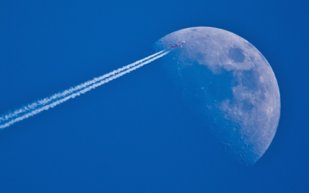 Flight to the moon - flight, moon, nature, sky