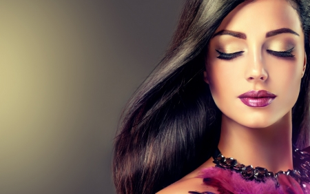 Beauty Girl ♥ - model, necklace, lips, make-up, lipstick, eyelashes, girl, hairstyle, long hair, feathers