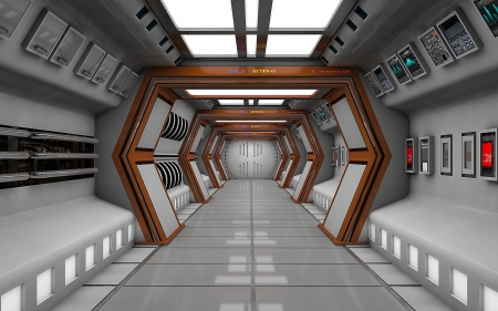 space hall - corridor, space hall5, 3d, cinema 4d, space
