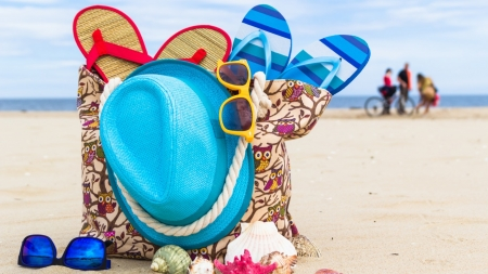 Summer - hat, summer, beach, sandals