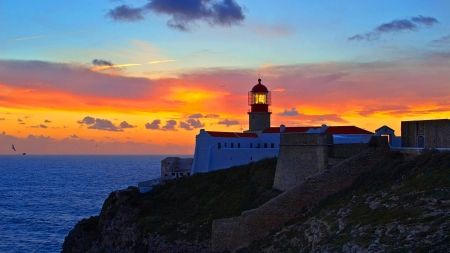 Cape St. Vincent, Portugal - cape, portugal, nature, evening, sunset, clouds, sea