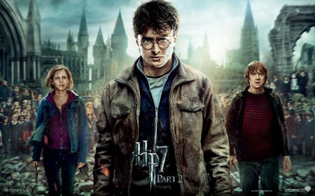 Harry Potter and the Deathly Hallows (2010-2011) - poster, movie, harry potter, ron, Daniel Radcliffe, Rupert Grint, Emma Watson, fantasy, deathly hallows, hermione granger