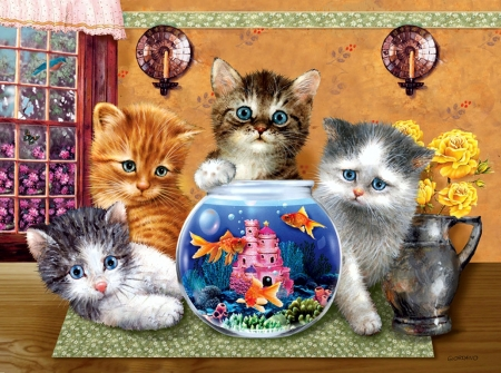 In the Showroom - fish, kitten, glass, cat, artwork, painting