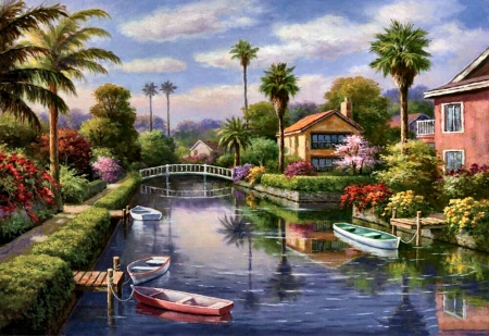 Private Docks - Boats F1 - art, boats, painting, wide screen, beautiful, illustration, artwork, docks