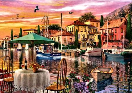 Sunset Harbour F - art, illustration, boats, harbour, wide screen, beautiful, artwork, painting