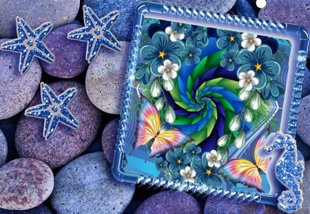 Seaside treasures - stars, floral, pebbles, seaside, abstract, pastel
