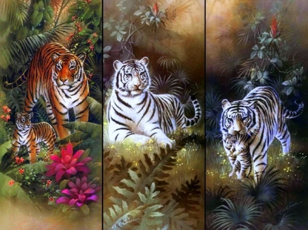 Tiger with Cubs - collages, forests, cubs, paintings, family, tropical, white tigers, big wild cats, animals, love four seasons, tigers, summer, nature