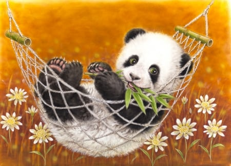 Cute Panda bear - art, black, animal, kayomi harai, bear, white, flower, orange, cute, hammock, panda