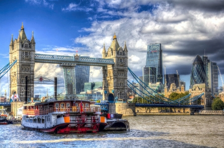The City of London - sky, buildings, River Thames, clouds, Tower Bridge, Paddle Steamer