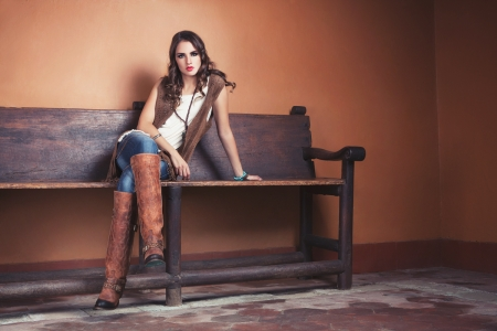 ~Cowgirl~ - bench, brunette, cowgirl, boots