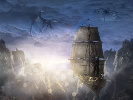 floating vessel - old, fantazy, cliffs, hover, dragon, sailing boat