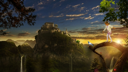 Dream castle - manipulation, mountain, kid, tree, fantasy, waterfall, dove, castle, imagination