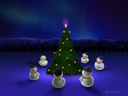 Christmas - snowmen, christmas tree, christmas, abstract, event, happy, lights, winter, cold, tree, merry christmas, snow