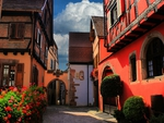 The red house in Ribeauville  Alsace