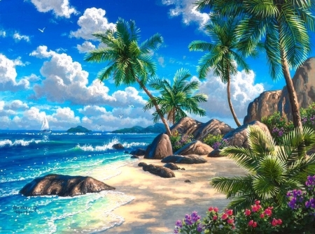 Summer Tropical Paradise - love four seasons, attractions in dreams, sky, clouds, palm trees, sea, paintings, paradise, beaches, summer, seaside, nature, tropical