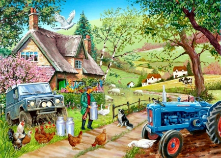 Farm Fresh - tractor, cottage, hens, man, artwork, sheep, painting, milk, cows, vintage