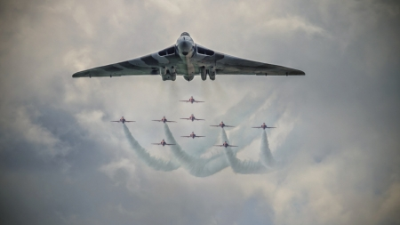 Vulcan Bomber and The Red Arrows - red, war, plane, military, bomber, clouds, sky, arrows