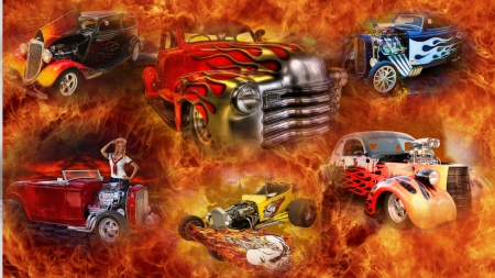 Hotter Hot Rod - red, cars, fire, orange, yellow, hot rods