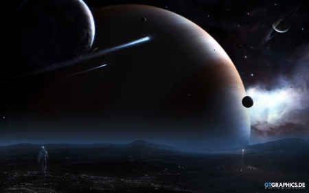 Stranded - ships, planets, moons, 3d, space, futuristic, tobias roetsch