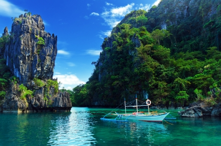 Boat Trip in Thailand - mountains, river, rocks, sky