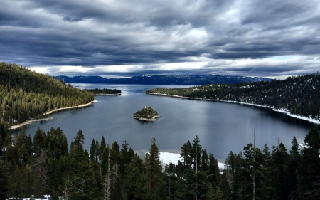 Emerald Bay, Lake Tahoe - water, scenery, Lake Tahoe, photography, wide screen, California, beautiful, waterscape, photo, USA, Emerald Bay, lake