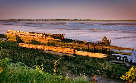 Decaying Boats - evening, old, rotting, ship wreck