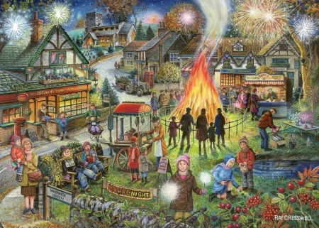 Autumn feast - art, fire, autumn, people, painting, feast, pictura