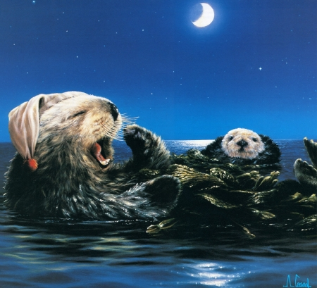 So Tired ! - beaver, painting, evening, lake, artwork, working