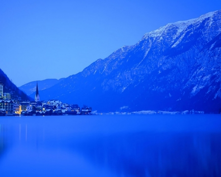 Blue Winter Night - villages, mountains, nature, lake, blue, night, winter
