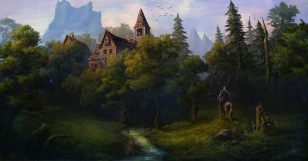 The Witcher - forest, house, luminos, the witcher, game, man, horse, tree, fantasy, green, mansion