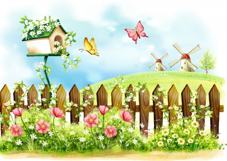 Spring Day - fence, grass, windmills, butterflies, sky, clouds, tree, birdhouse, flowers, Spring, hill