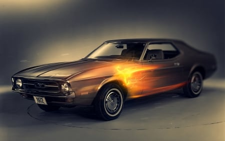 Mustang - mustang, fire, Car, ford
