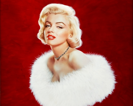 Marilyn Monroe - red, art, luminos, blonde, marilyn monroe, woman, girl, actress, portrait, white, gennadiy koufay, fur