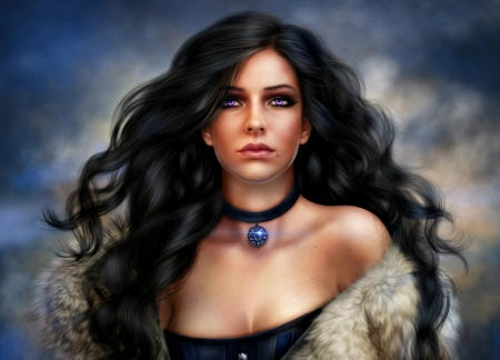 Yennefer - alenaekaterinburg, witch, frumusete, luminos, the witcher, pendant, game, woman, brunette, fantasy, girl, jewel