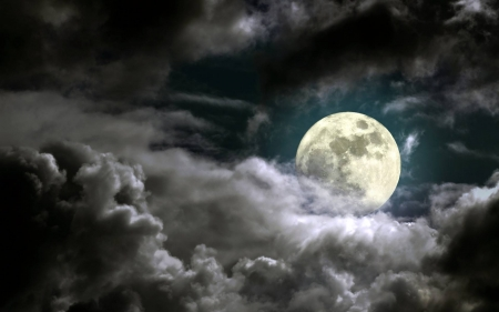 full moon in the clouds - moon, cool, space, fun, clouds
