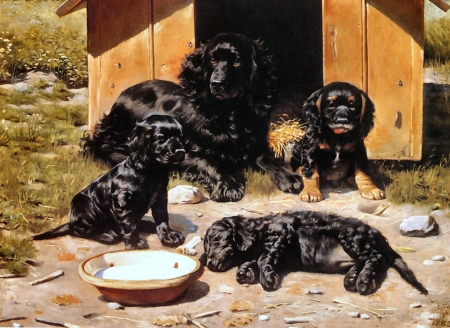 The Tired Family - Dogs F - art, illustration, animal, dogs, pets, canine, wide screen, Tilly, beautiful, old master, Vilhelm Tilly, artwork, painting