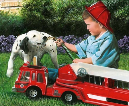 A Break From Training - Dog - little boy, dalmation, art, beautiful, pets, illustration, artwork, canine, animal, fire engine, painting, wide screen, dogs
