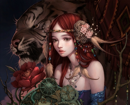 Fantasy girl by Liuyuan Lange - yuan liu, frumusete, lange, luminos, redhead, legend of the cryptids, game, tiger, peony, fantasy, girl, green, flower, beauty