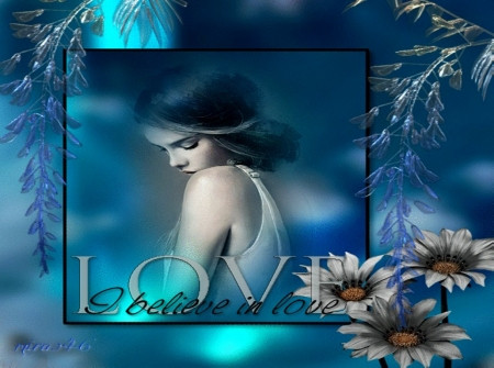 Ɯσмαη ιη Lσνє - Romance, Woman, Flowers, Blue, Fantasy