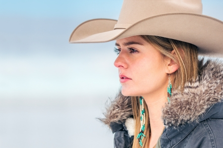 ~Cowgirl~ - hat, blonde, jewelry, coat, cowgirl